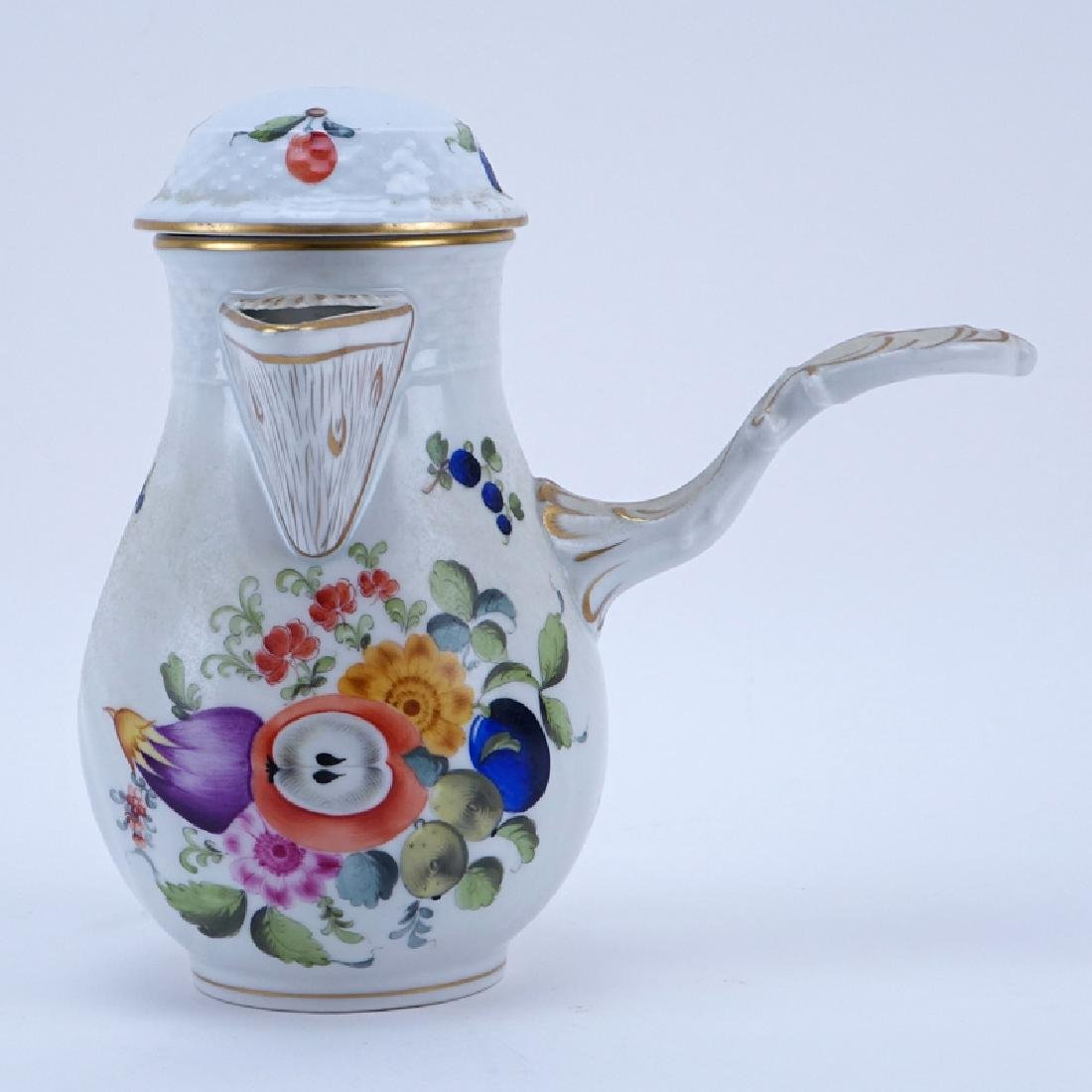 Herend Porcelain Fruits and Flowers Chocolate Pot.