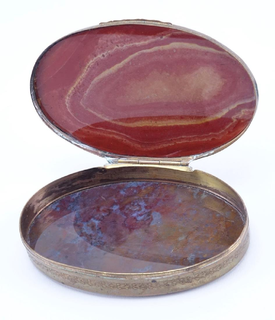 Vintage Agate Box. Brass mountings. Unsigned. Good - 2