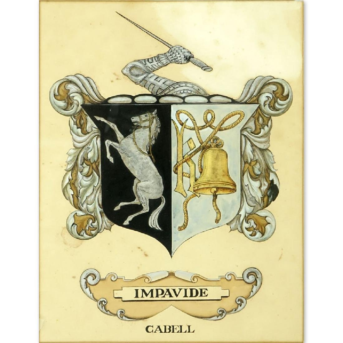 Antique Painting of Impavide Cabell Coat of Arms on