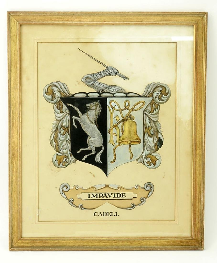 Antique Painting of Impavide Cabell Coat of Arms on - 2