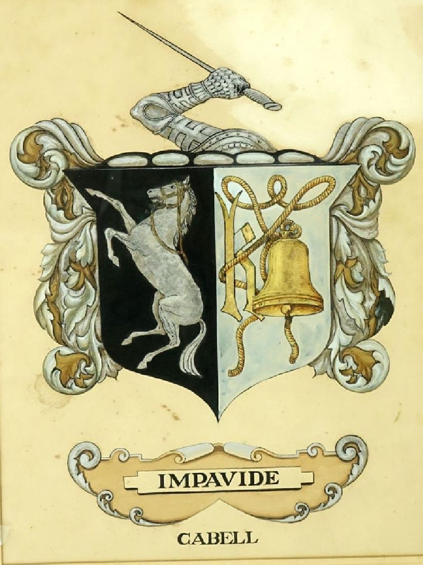 Antique Painting of Impavide Cabell Coat of Arms on - 3