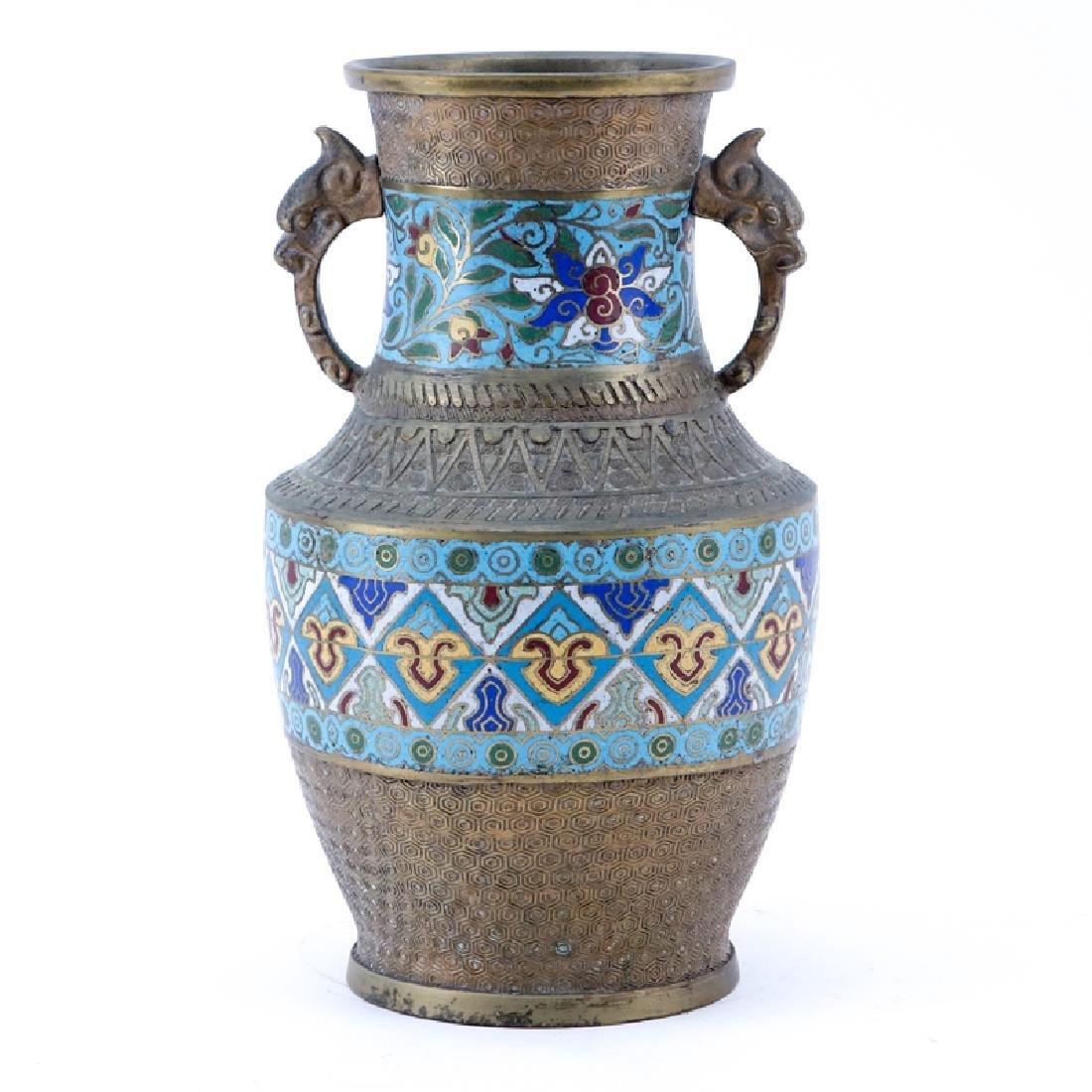 "Antique Japanese Champlevé Bronze Vase. Stamped ""Made"