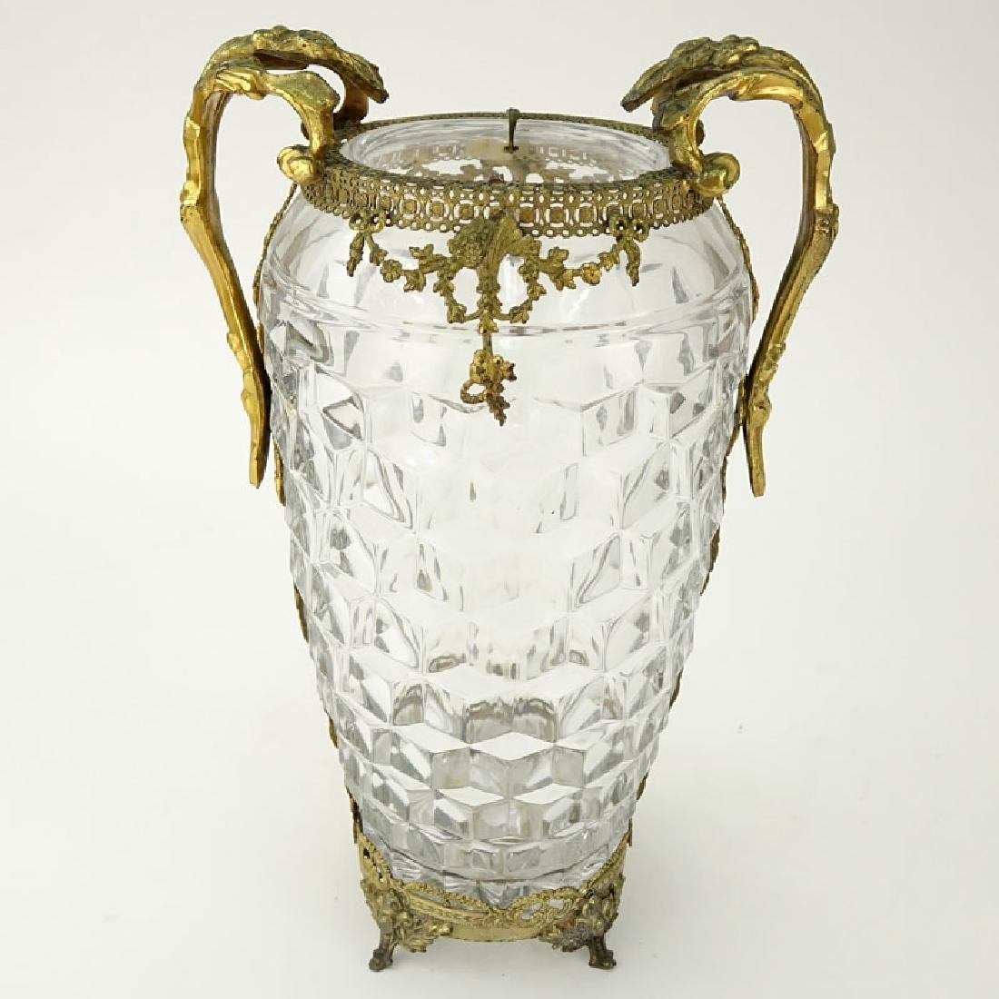 Antique French Baccarat Style Glass Vase with Brass