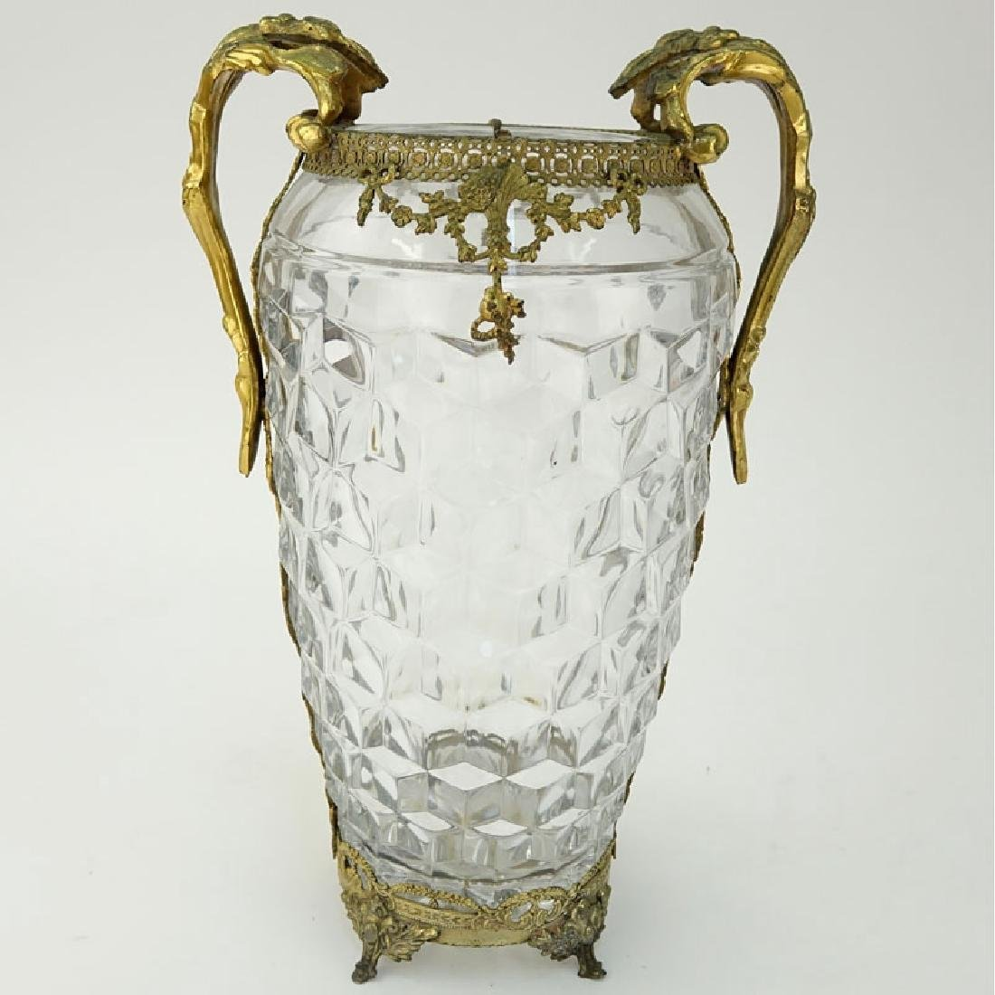Antique French Baccarat Style Glass Vase with Brass - 2