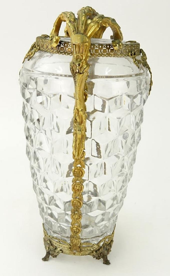 Antique French Baccarat Style Glass Vase with Brass - 4
