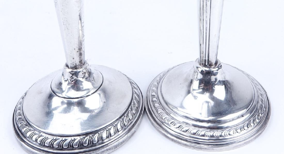 Two (2) Pair Weighted Sterling Silver Candlesticks. - 6