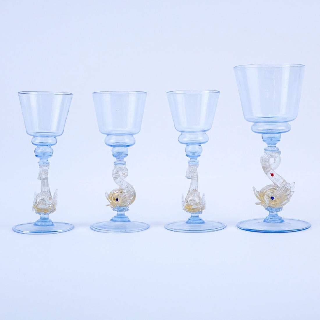 Group of Four (4) Vintage Hand Blown Venetian Glass