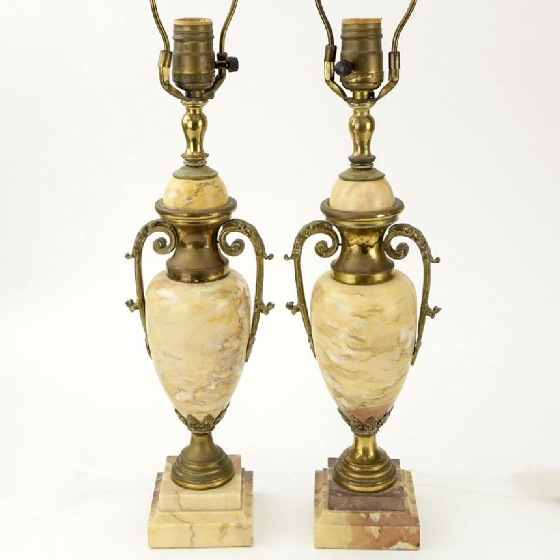 Pair of Antique Italian Marble and Bronze Urn Lamps.