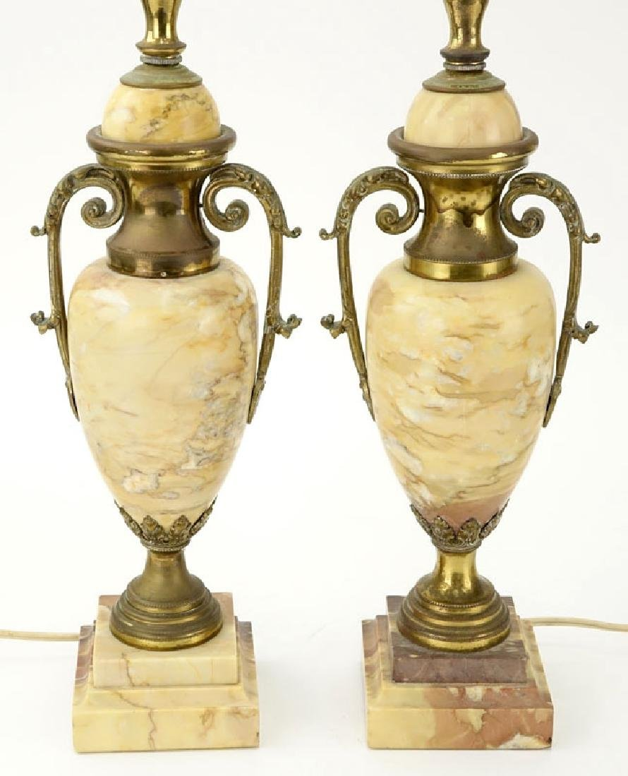 Pair of Antique Italian Marble and Bronze Urn Lamps. - 3
