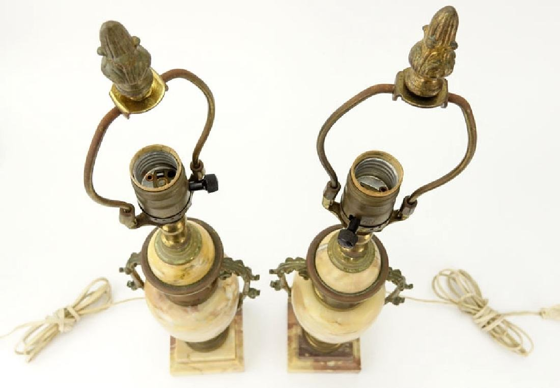 Pair of Antique Italian Marble and Bronze Urn Lamps. - 4