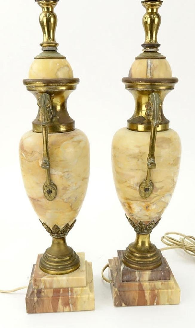 Pair of Antique Italian Marble and Bronze Urn Lamps. - 5