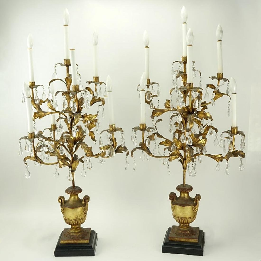 Pair of Gilt Carved Wood and Tole Candelabras Lamps