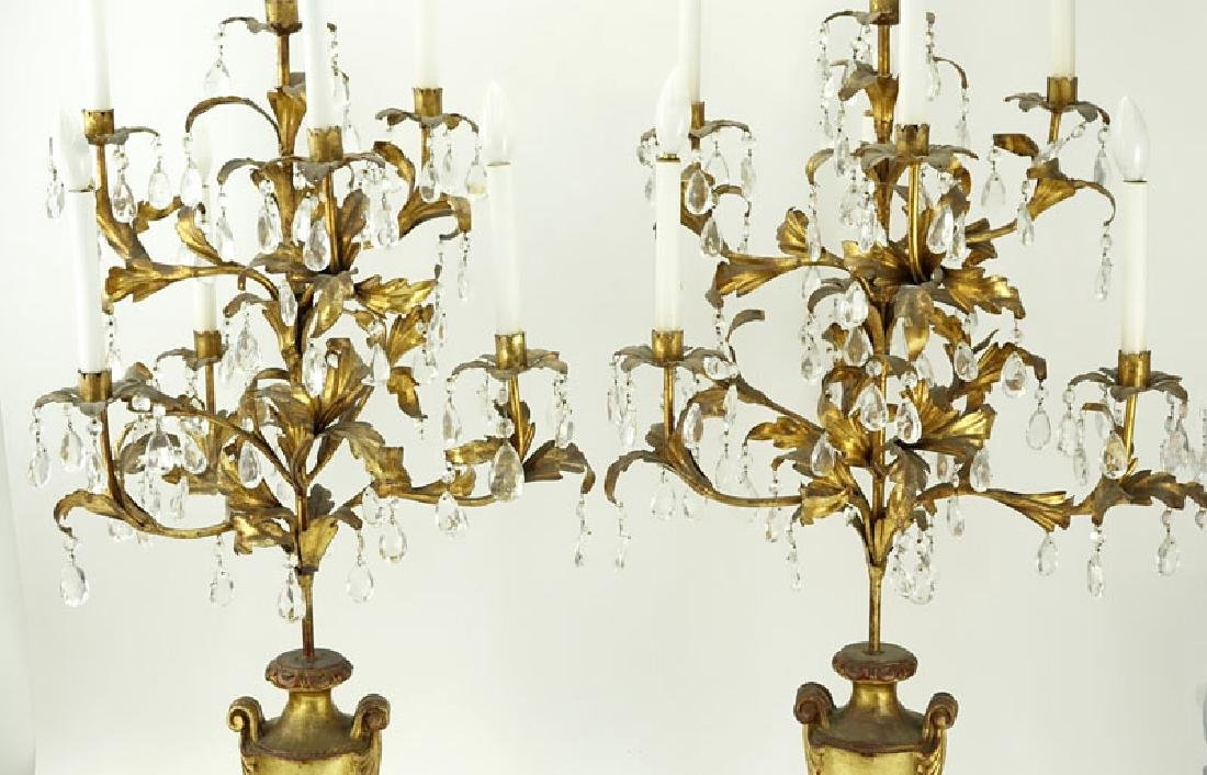 Pair of Gilt Carved Wood and Tole Candelabras Lamps - 2