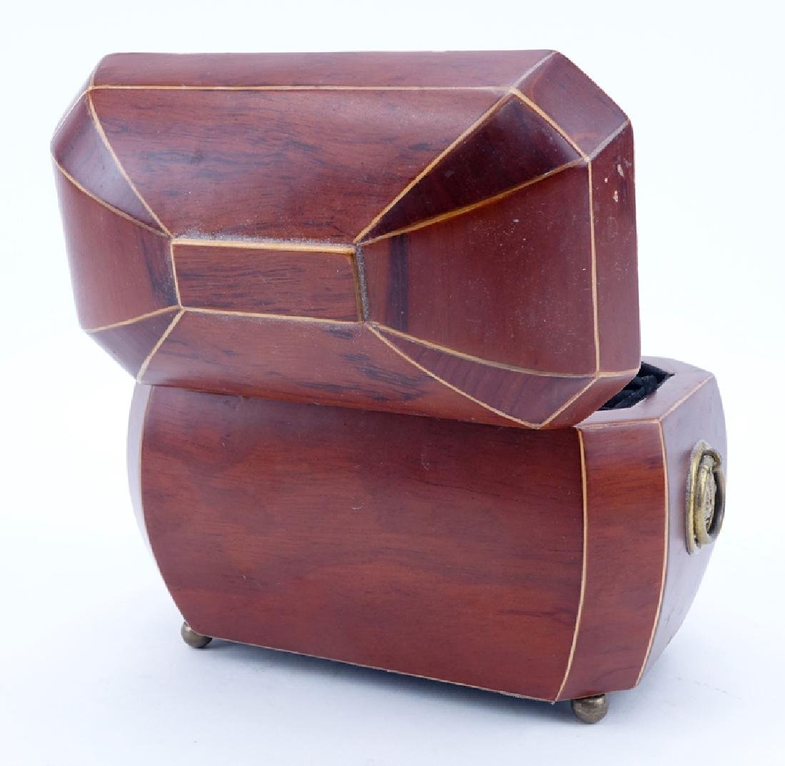 Modern Wooden Jewelry Box with Brass Handles and Ball - 3
