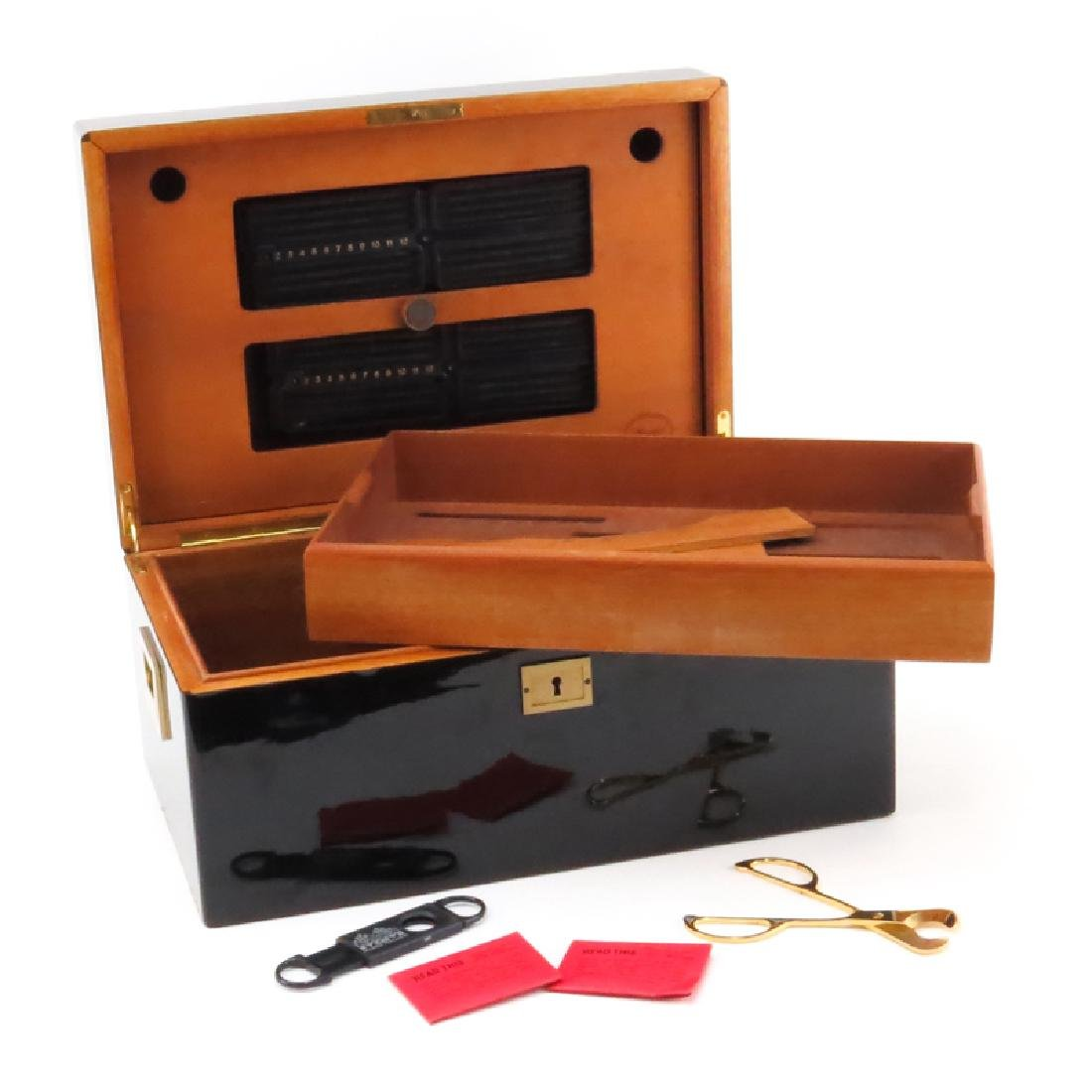 Davidoff Black Lacquered Wood and Brass Humidor.