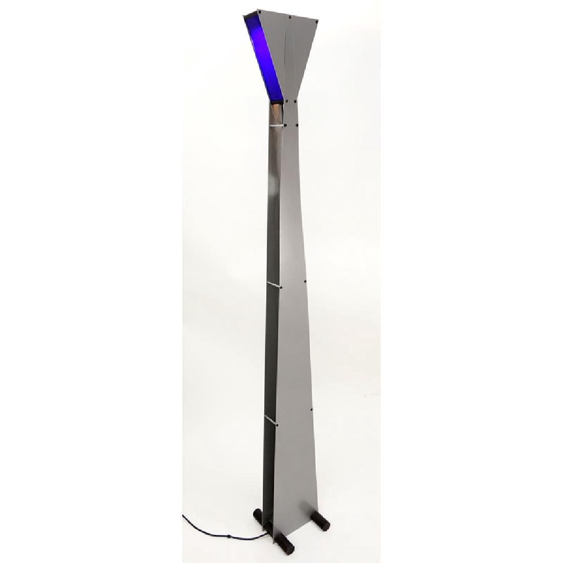 Attributed to George Kovacs Metal Floor Lamp with Blue