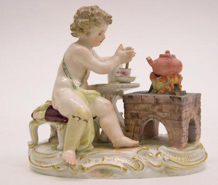 """2009: 19th Century Meissen Porcelain Figural Group """"Tea"""