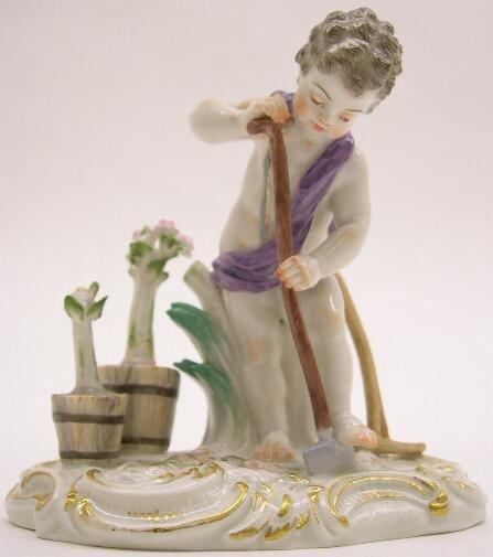 """2017: 19th Century Meissen Porcelain Figural Group """"Pla"""