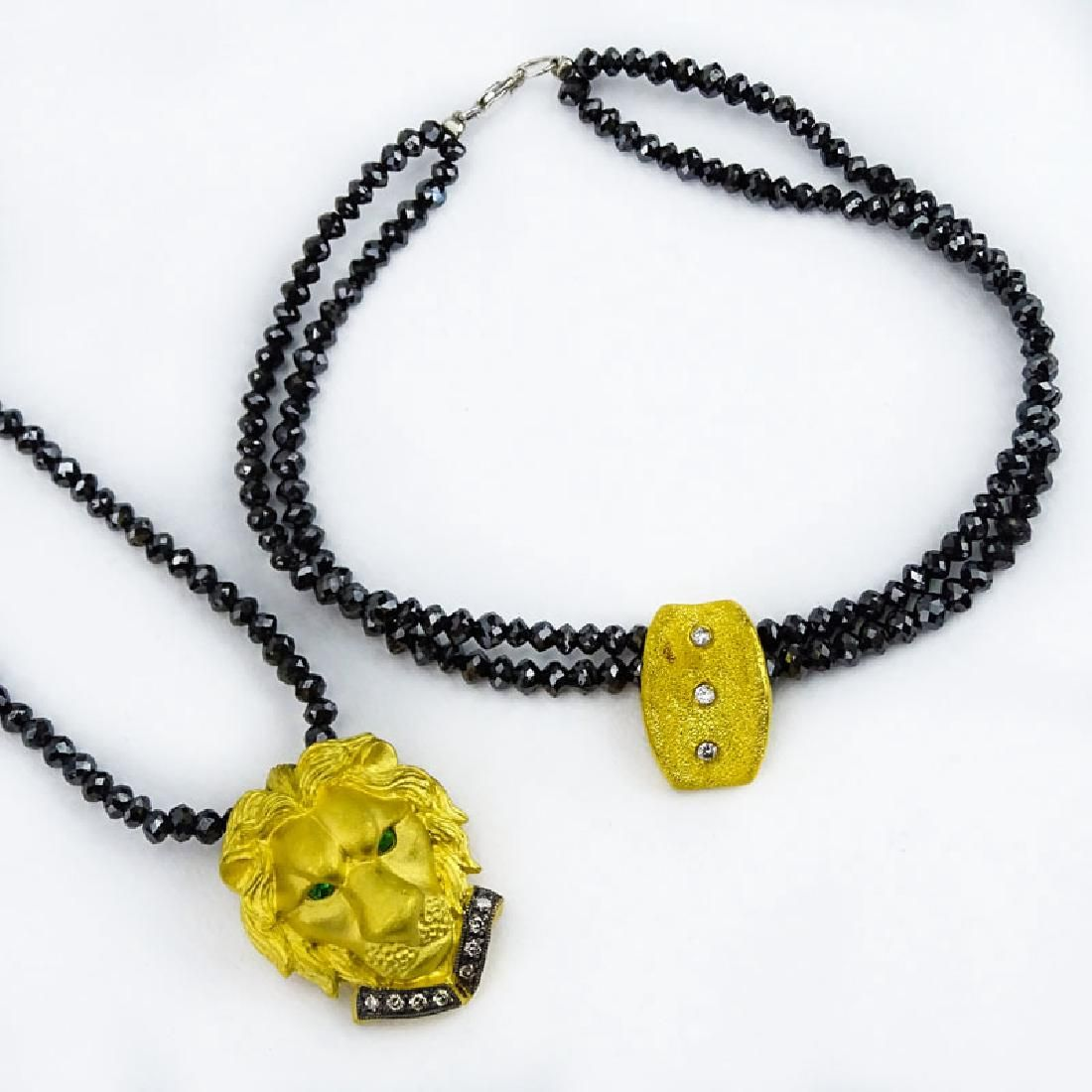 Vintage Black Diamond Bead Necklace(s) and Double