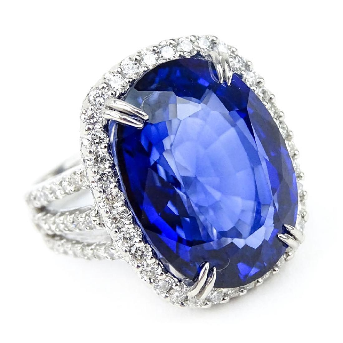 24.14 Carat Oval Cut Royal Blue Sapphire, 2.08 Carat