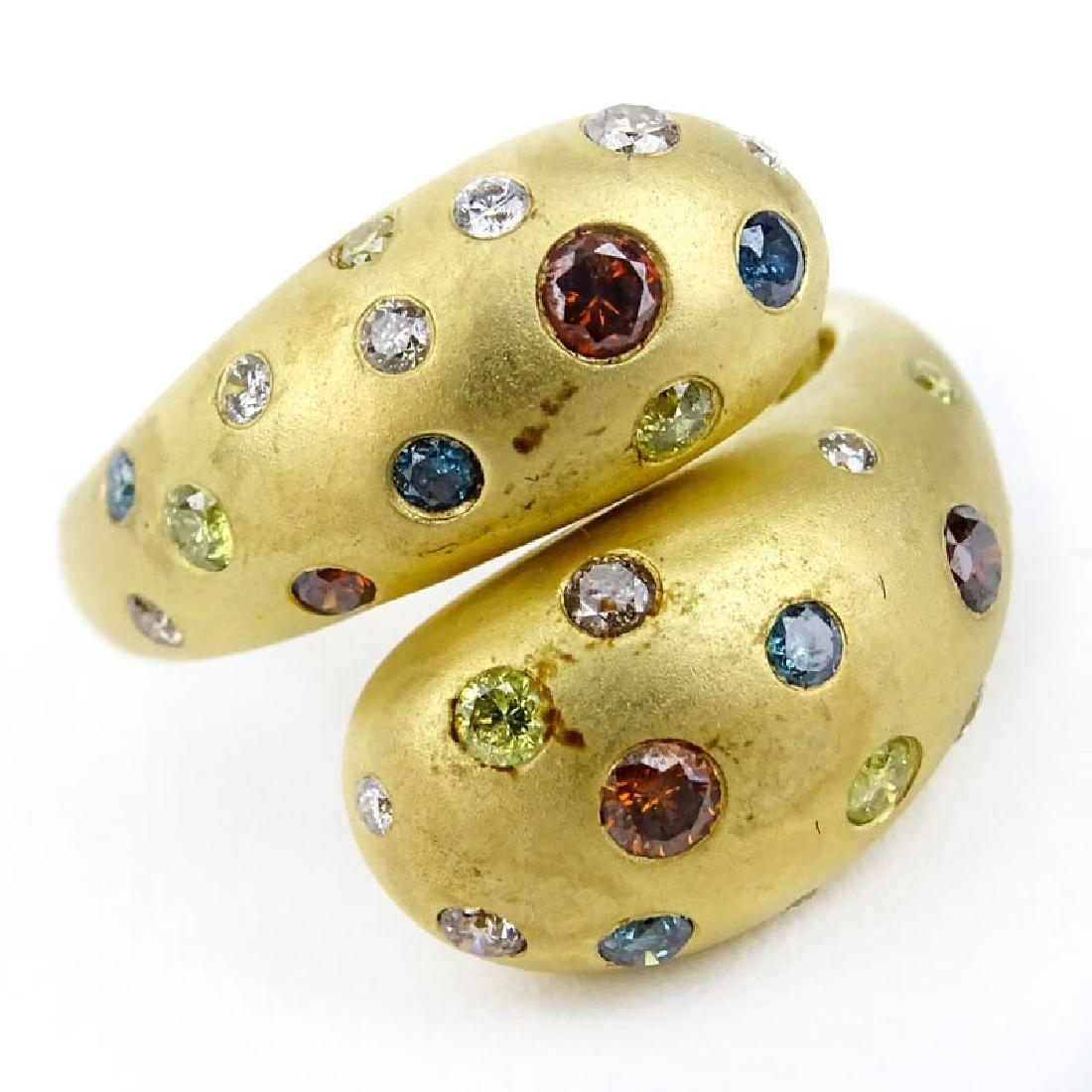 Vintage 18 Karat Yellow Gold Diamond and Gemstone Ring. - 2
