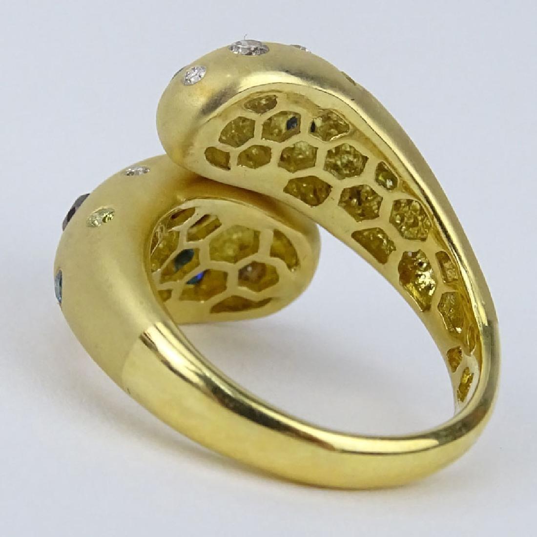Vintage 18 Karat Yellow Gold Diamond and Gemstone Ring. - 3