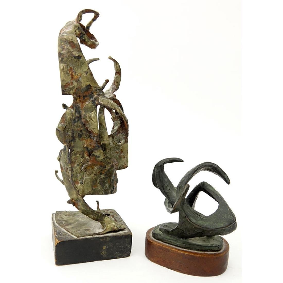 Grouping of Two (2) Mid Century Abstract Bronze and