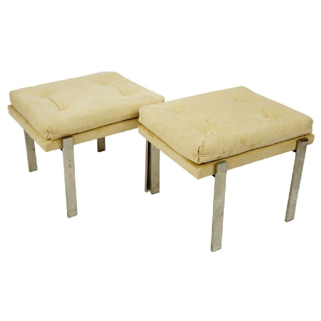 Pair of Mid Century Modern Chrome and Upholstered