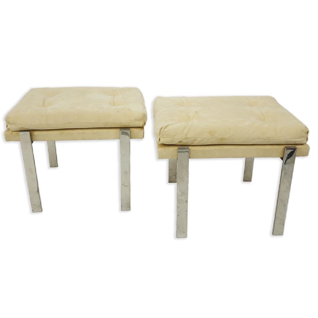 Pair of Mid Century Modern Chrome and Upholstered - 2