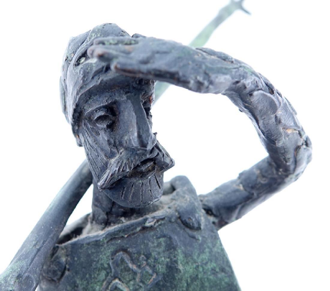 """""""Don Quixote"""" Metal Sculpture Signed R. Barnes. Dated - 3"""