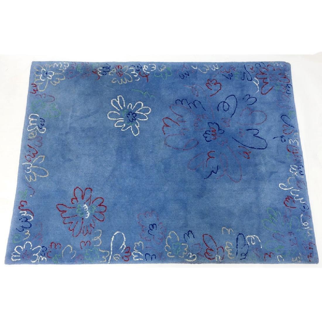 Edward Fields Colorful Floral Wool Rug. Signed en verso