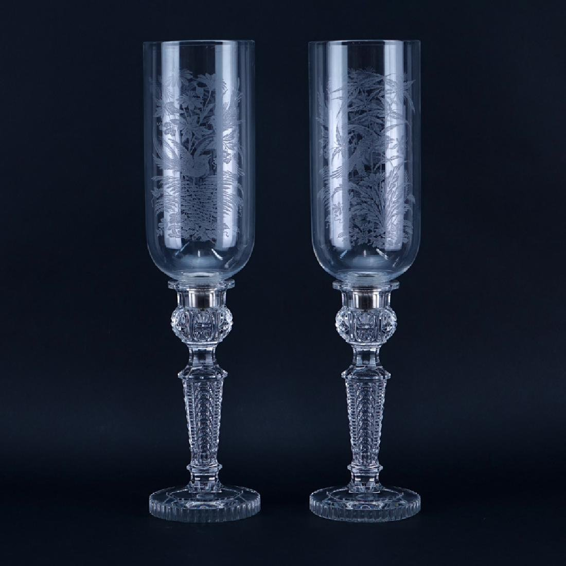 Pair Of Baccarat Crystal Candlesticks With Hurricane