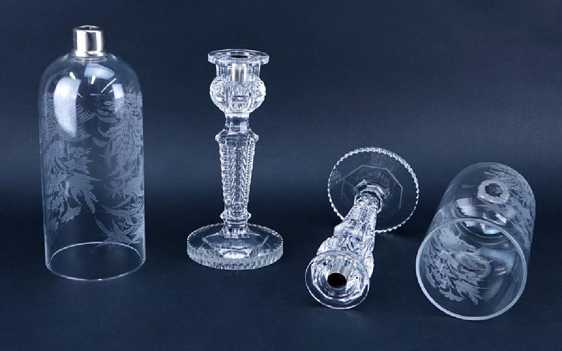 Pair Of Baccarat Crystal Candlesticks With Hurricane - 2