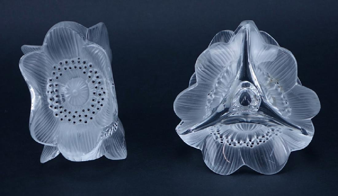 Pair Lalique Anemone Crystal Candleholders. Signed. - 2