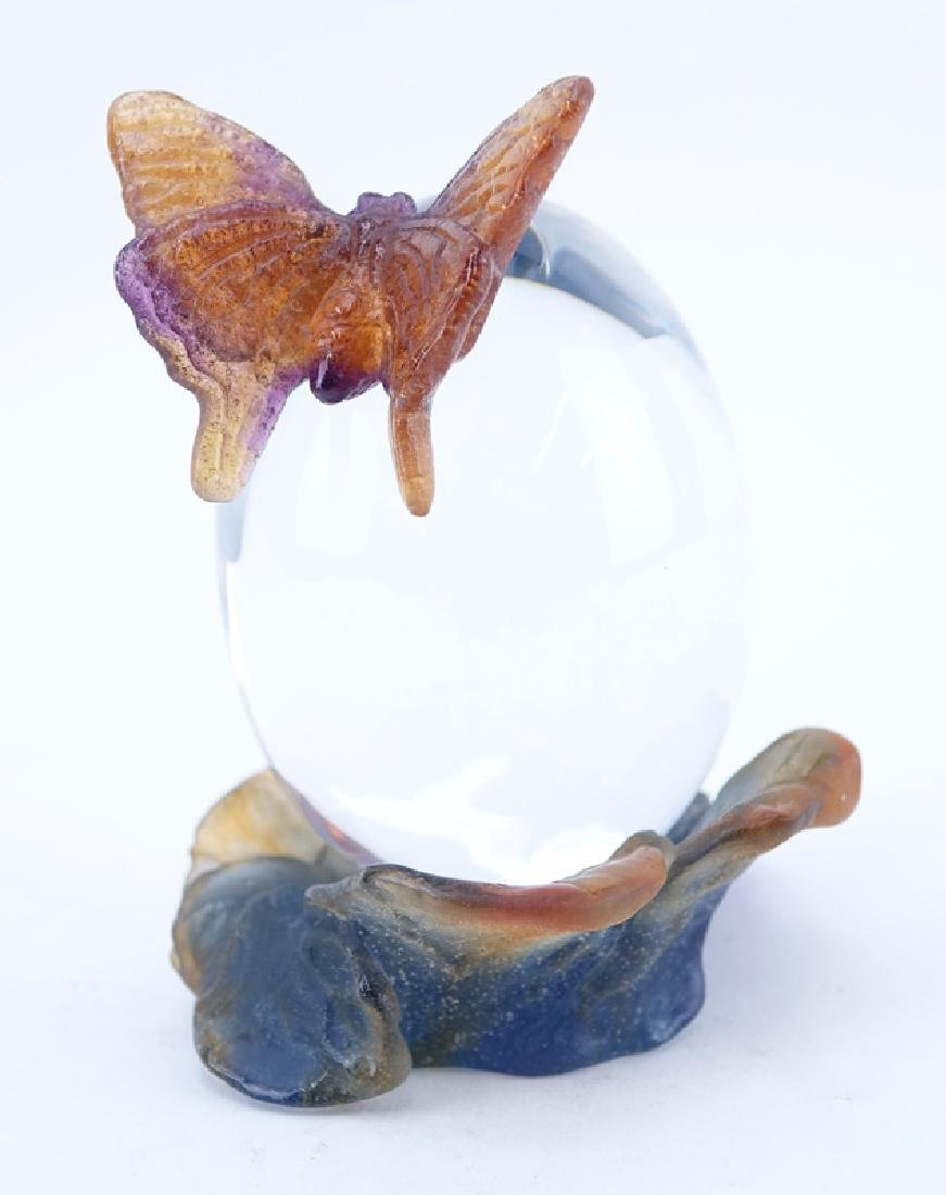 Daum France Pate de Verre Butterfly on Clear Egg Clock. - 2