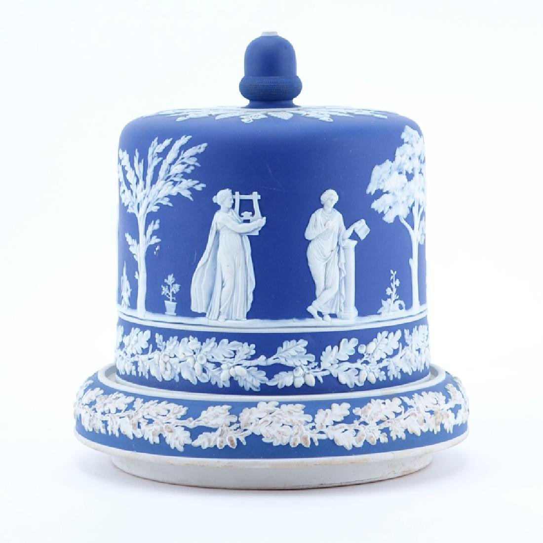Large Wedgwood Style Blue Jasperware Cheese Stand With