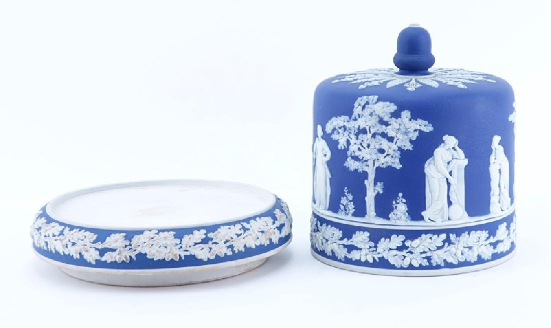 Large Wedgwood Style Blue Jasperware Cheese Stand With - 2
