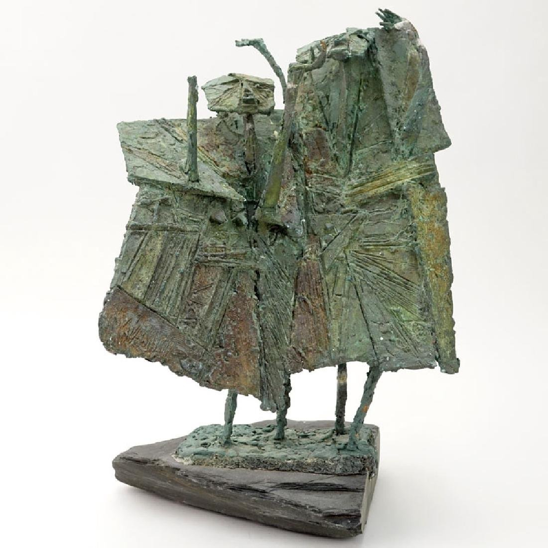 Modern Bronze Figural Abstract Sculpture On Slate Base.