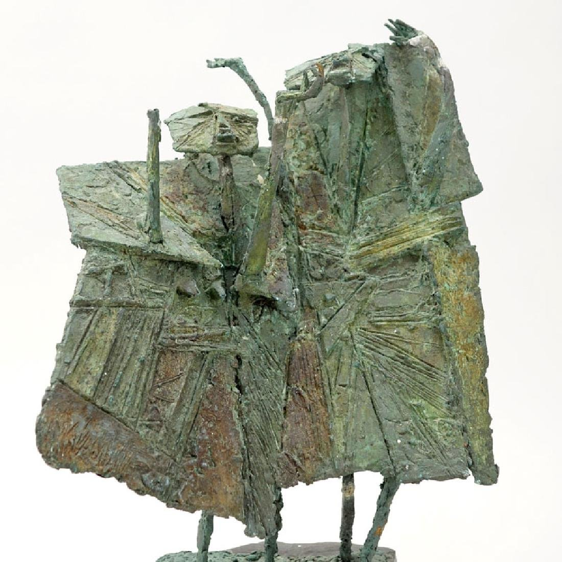 Modern Bronze Figural Abstract Sculpture On Slate Base. - 2