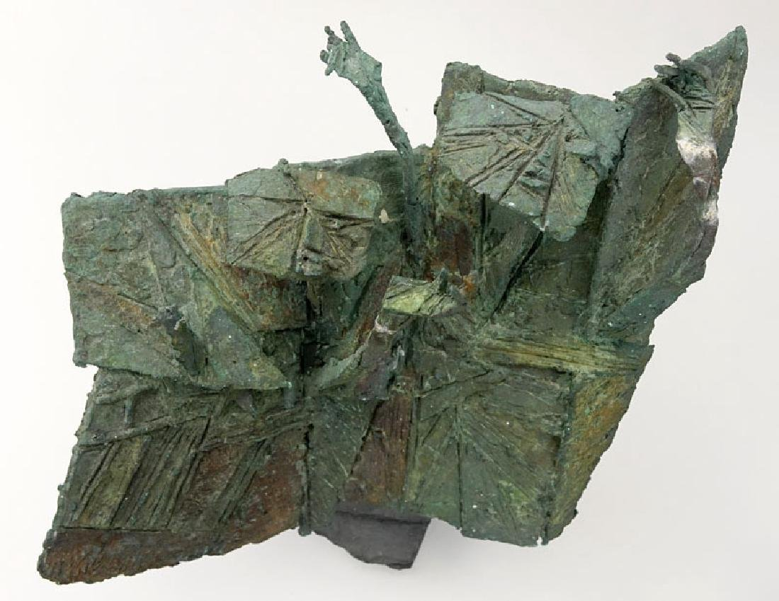 Modern Bronze Figural Abstract Sculpture On Slate Base. - 3
