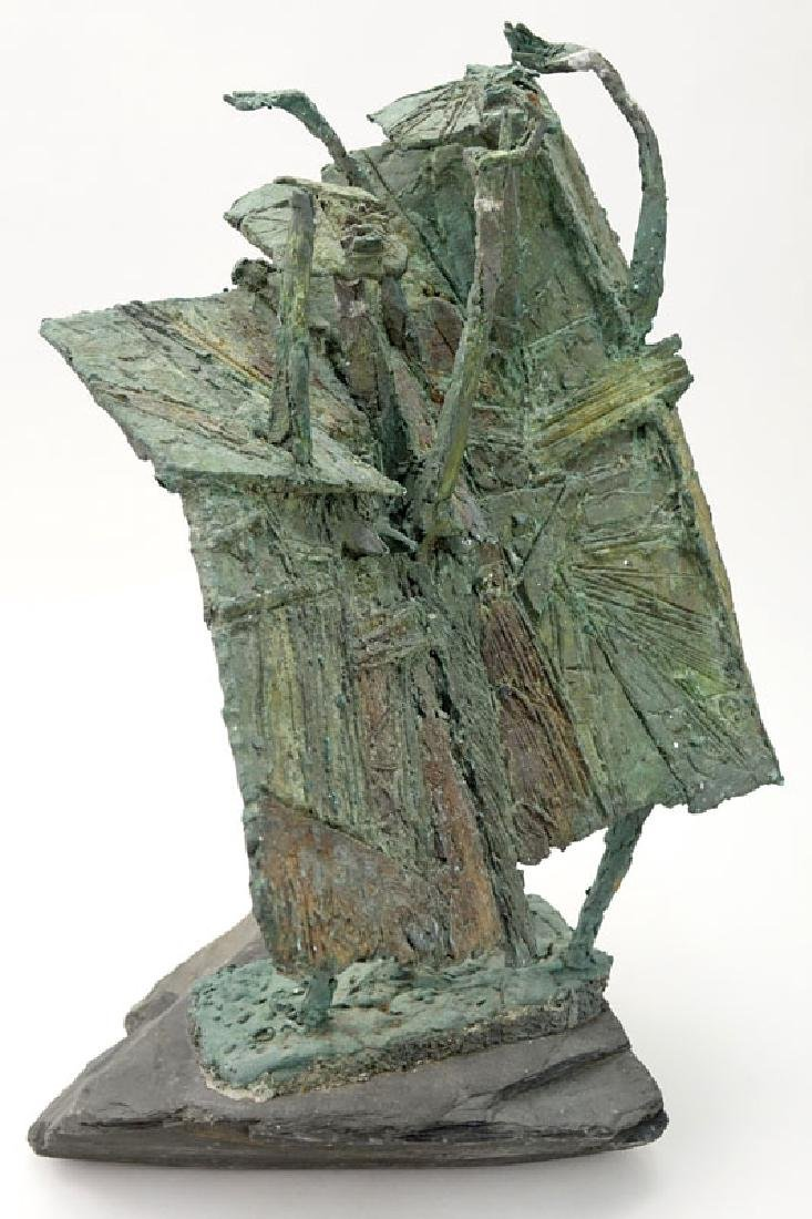 Modern Bronze Figural Abstract Sculpture On Slate Base. - 4