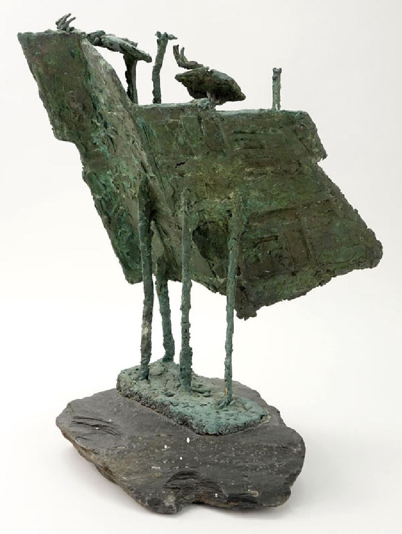 Modern Bronze Figural Abstract Sculpture On Slate Base. - 5