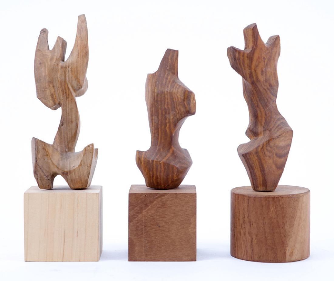 Three Mid-Century Carved Wood Figural Sculptures. - 2