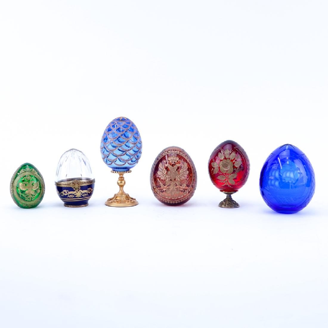 Grouping of Six (6) Russian Glass Egg Shape Tableware.