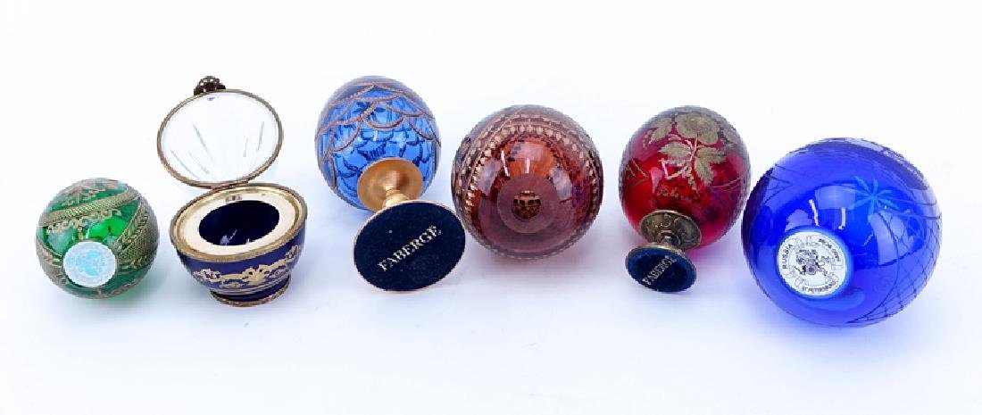 Grouping of Six (6) Russian Glass Egg Shape Tableware. - 2
