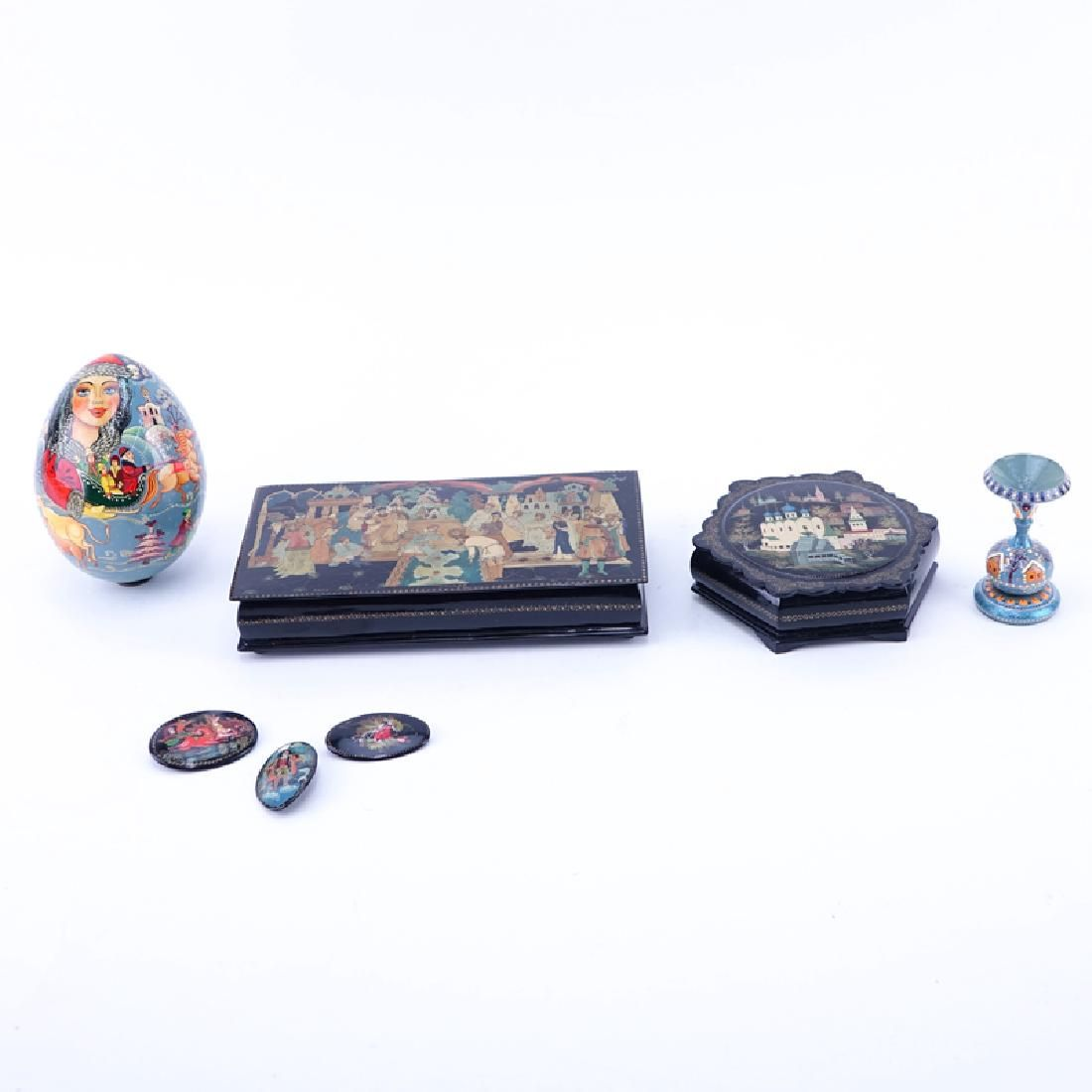 Collection of Six (6) Russian Lacquer Paper Mache