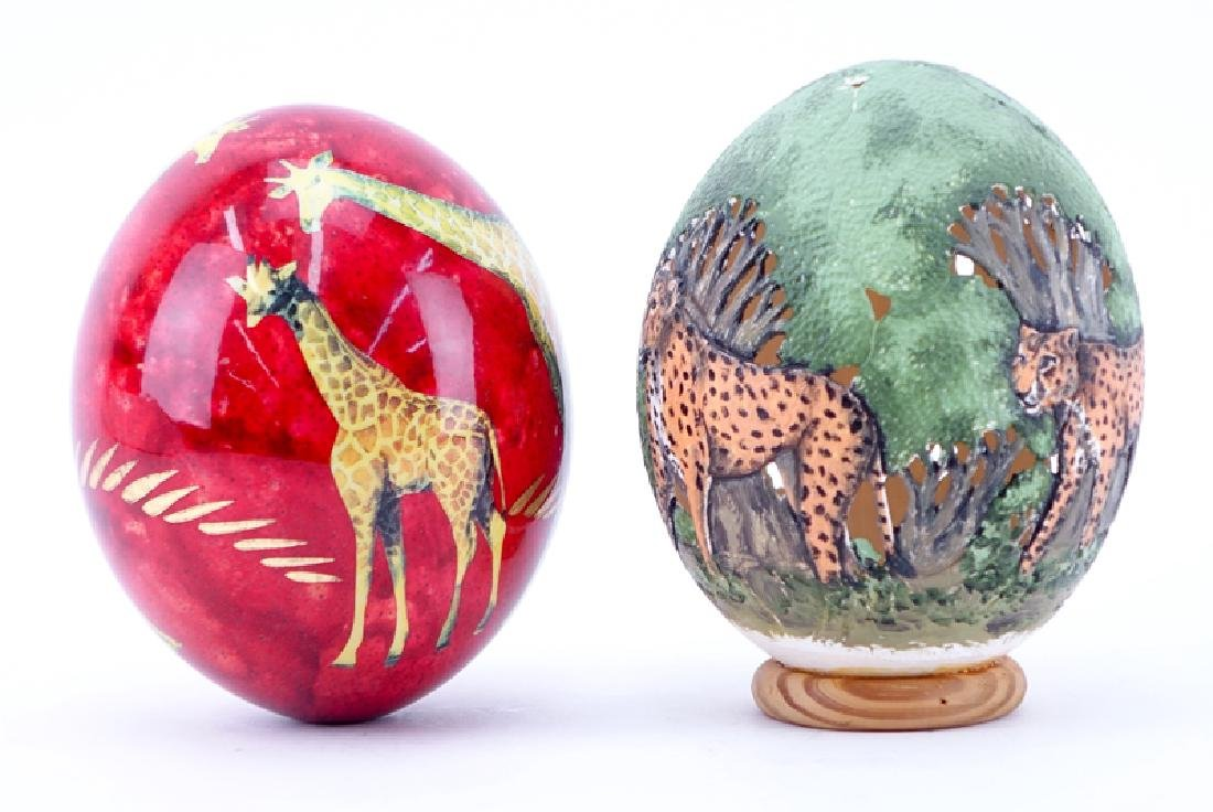 Grouping of Two (2) Painted Ostrich Eggs. One is signed - 2