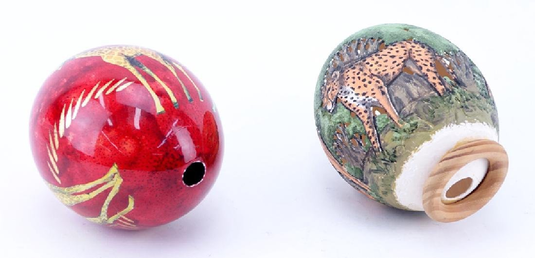 Grouping of Two (2) Painted Ostrich Eggs. One is signed - 3