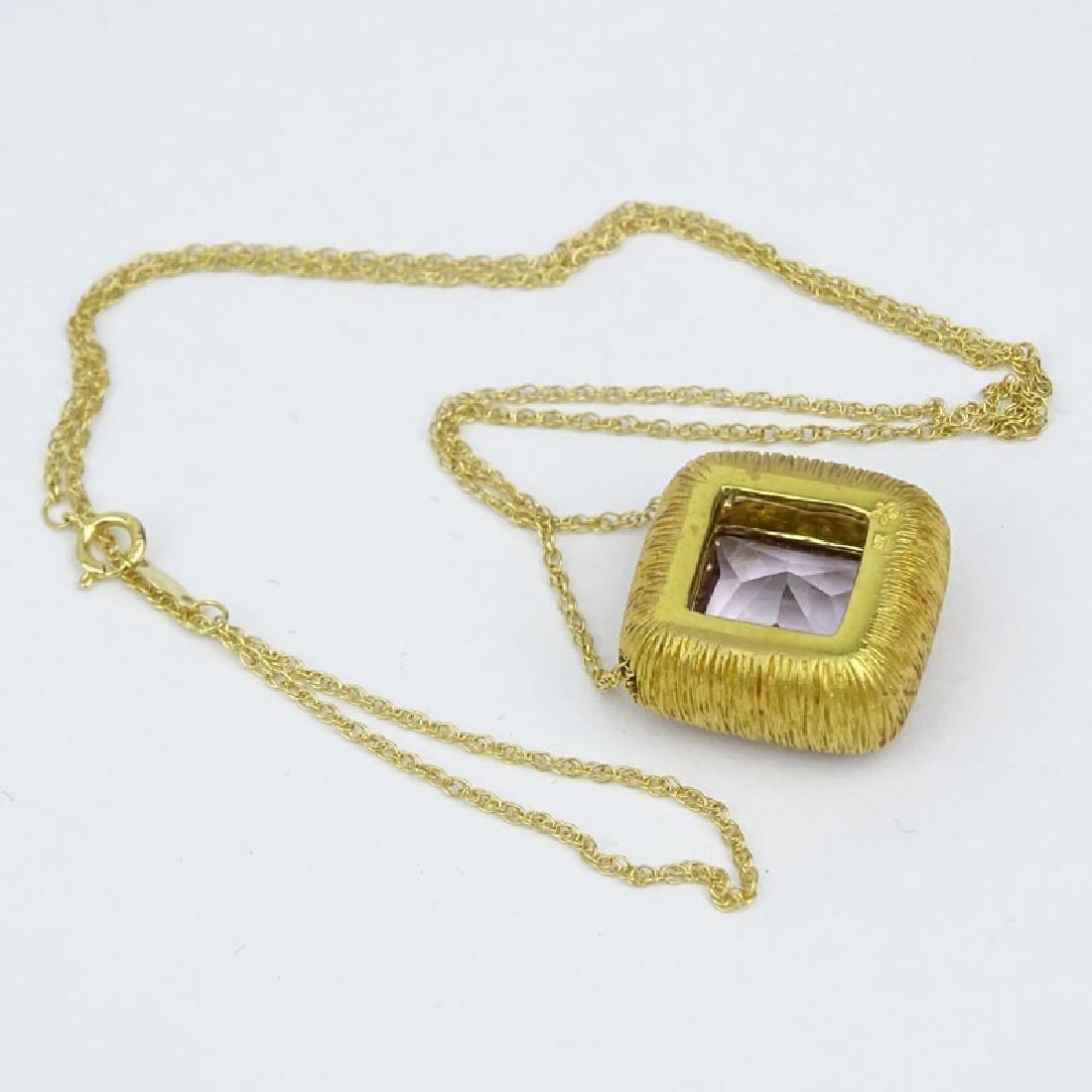 Vintage Square Cut Morganite and 18 Karat Yellow Gold - 2