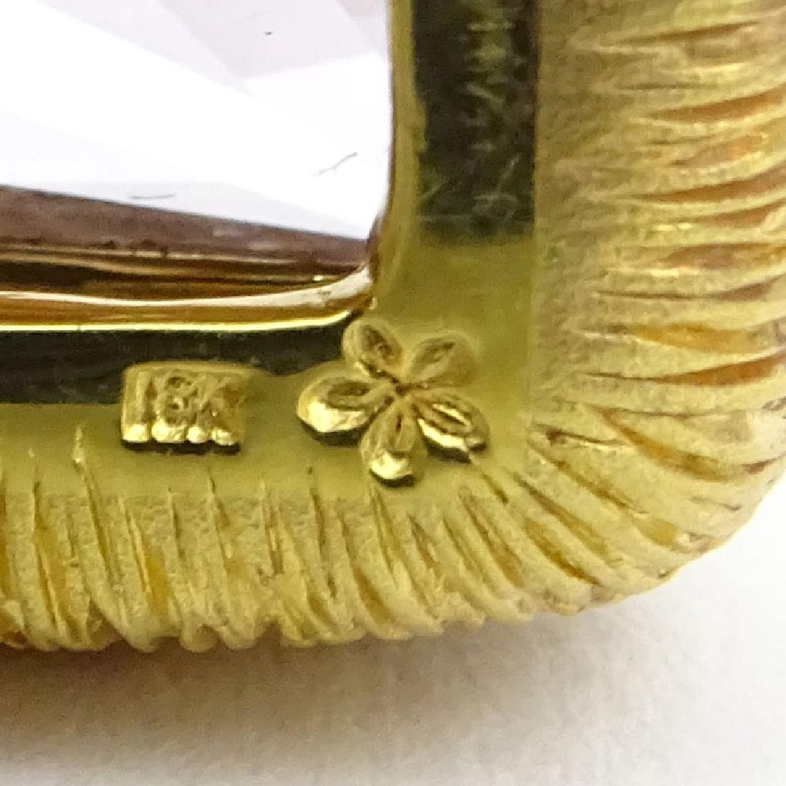 Vintage Square Cut Morganite and 18 Karat Yellow Gold - 3